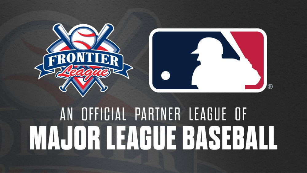Logo announcing the Frontier League becoming an MLB Partner League