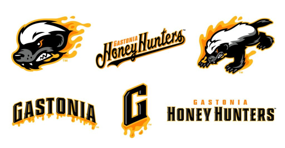 The various logos for the Gastonia Honey Hunters