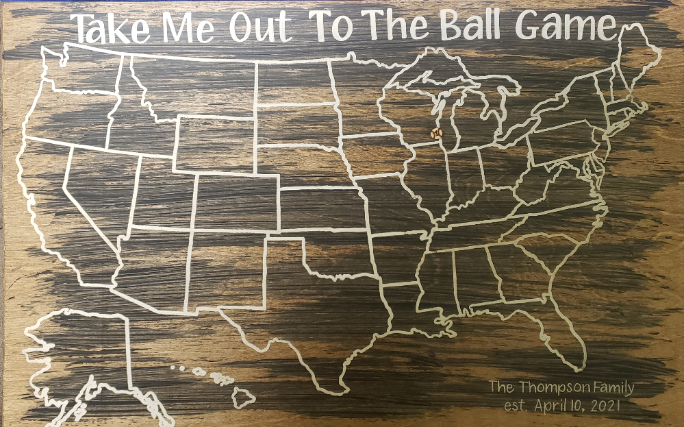 Wooden map of the United States