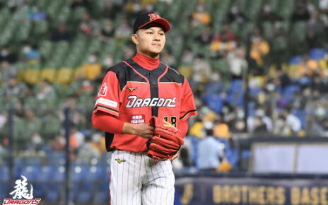 Hsu Jo-hsi on the mound for the Wei Chuan Dragons