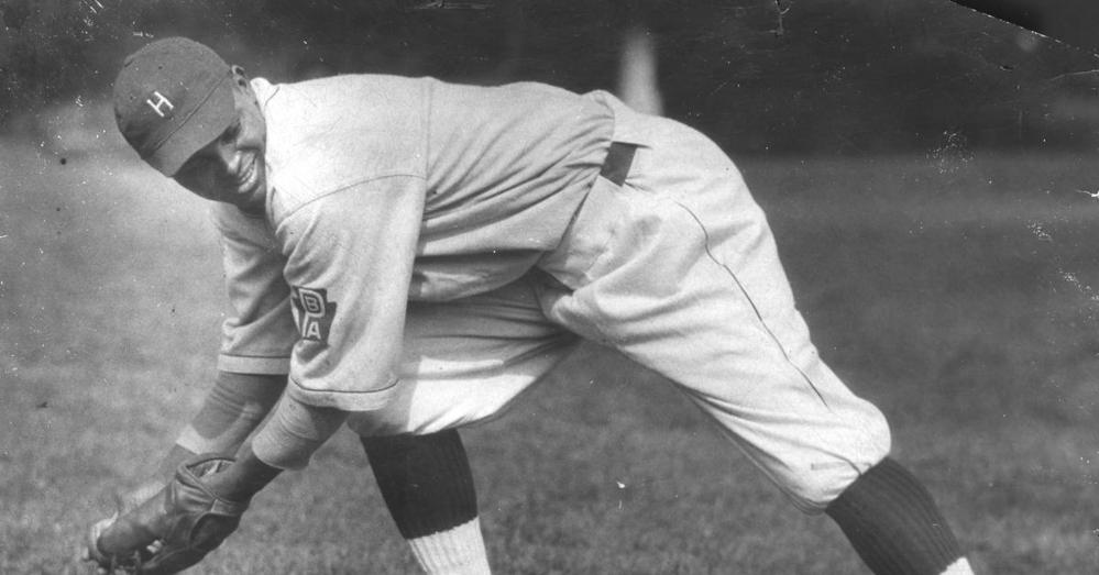 Biz Mackey fielding a grounder with Hilldale