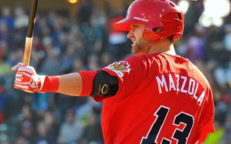 Josh Mazzola at bat for the Winnipeg Goldeyes