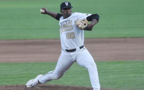 Kumar Rocker while pitching for Vanderbilt
