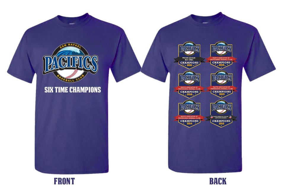 The six time champions Pacifics t-shirts